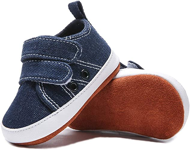 BEBARFER Baby Boys Girls Shoes Canvas Infant Sneakers Soft 100/% Leather Anti-Slip Sole Newborn Toddler First Walker Crib Shoes