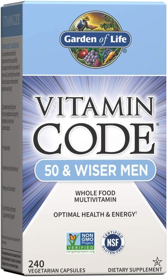Garden of Life Vitamin Code 50 & Wiser Men Raw Whole Food Multivitamin, Vitamins for Men Over 50 for Prostate Health, Healthy Heart, Blood Pressure, 240 Vegetarian Capsules *Packaging May Vary*