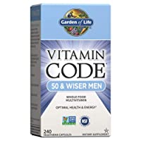 Garden of Life Multivitamin For Men - Vitamin Code 50 & Wiser Men's Raw Whole Food Vitamin Supplement With Probiotics, Vegetarian, 240 Capsules