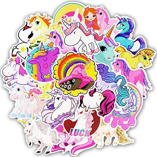 FEZZ 50pcs Graffiti Adesivi Misto Sticker Unicorno Cartone Animato Impermeabile per Fai Ta Te Computer Portatile Bambini Automobili Motociclette Bicicletta Skateboard Bagagli