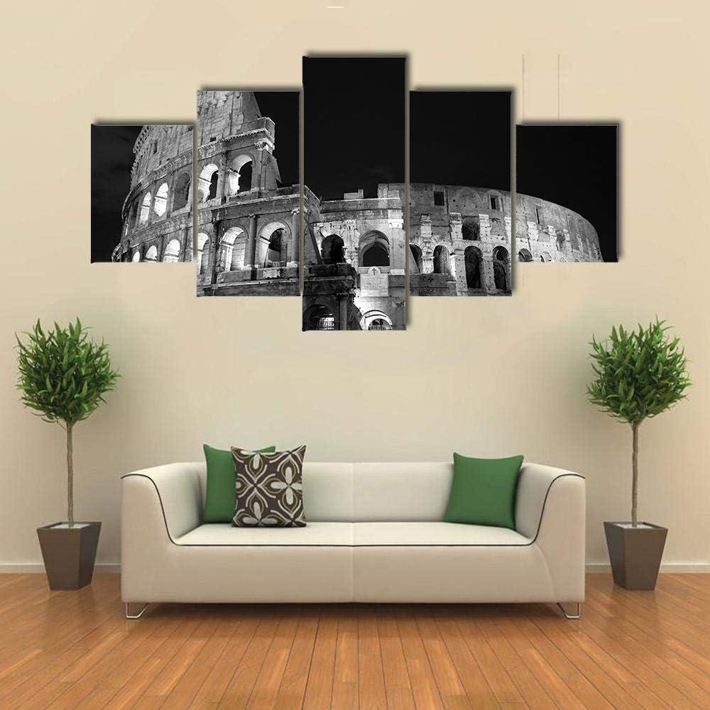 CVBGF 5 cuadros en lienzo, blanco y negro, arena romana/lienzo impresión HD, lienzo lienzo pintura de salón, dormitorio, decoración del hogar, 150 x 80 cm