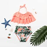 Dinlong 2Pcs Swimsuit Toddler Baby Girl Ruffles