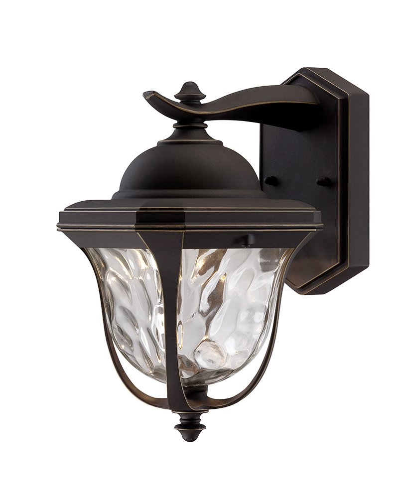 Designers Fountain EV7067-246 LED Outdoor Wall Lantern with Clear Hammered Glass Shade, 14'', Aged Bronze Patina