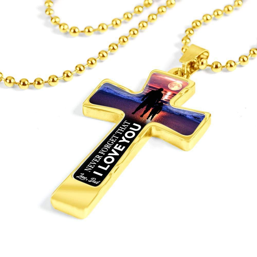from Dad Child to My Daughter Cross Shaped Necklace Luxury Chain Never Forget That I Love You idea for Girl