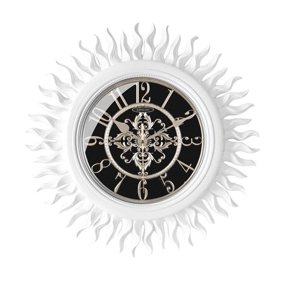 GDXRB リビングルーム、レストラン、オフィス(47x47x4.5cm)に装飾されたヨーロッパのレトロな壁時計の贅沢な創造的な太陽のパーソナリティサイレントクォーツの壁時計は、 (Color : BQ8110W) B07DCYFC83 BQ8110W BQ8110W