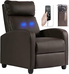 Recliner Chair Leather Massage Sofa Wing Back Single Home Theater Seating Reading Chair Living Room Reclining Sofa with Thick Seat Cushion and Footrest, Brown