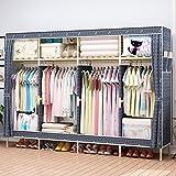 HHAiNi Huge 82'' Portable Wooden Closet Storage Organizer Wardrobe Clothes Rack With Shelves, 4 Hanging Rods, Free 1 Storage Box