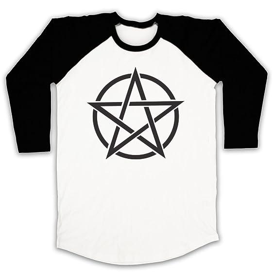Pentagram Occult Symbol 3/4 Hulse Retro Baseball T-Shirt, Weis & Schwarz