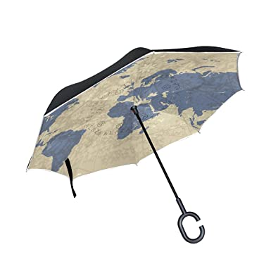 bennigiry world map printing double layer inverted umbrellasreverse folding umbrella windproof uv protection big