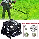 GRAWILLE Universal Weed Trimmer Head Weed Edging Head Lawn Mower Trimmer Brush Cutter Head 9.5' Rounded Edge Wheels(Include Weed Trimmer Head Adapter Lawnmower Blade Adapter)