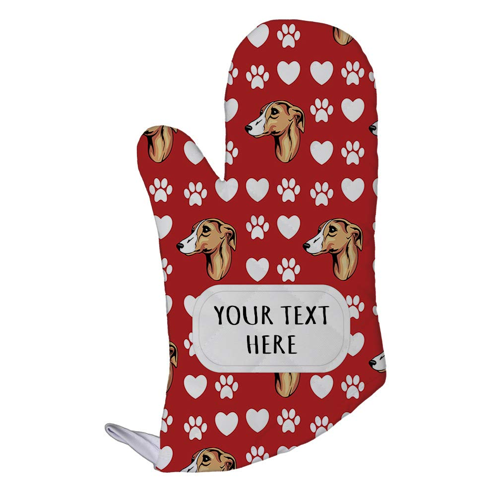 Style In Print Polyester Oven Mitt Custom Whippet Dog Red Paw Heart Pattern Adults Kitchen Mittens