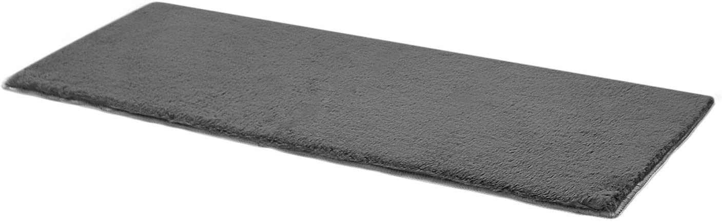 Fuzzy Bedroom Rug Furry Fluffy - Shag Bedside Faux Fur Area Rug 2X6 Grey Non Slip Bottom Washable