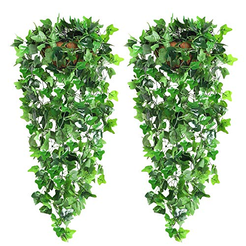 CEWOR 2pcs Artificial Hanging Plants Fake Ivy Garland Vine for Wall Home Garden Wedding Outside Hanging Decoration ( No…