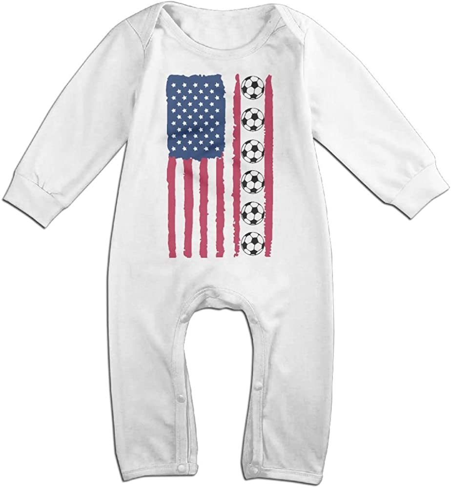 Mri-le1 Toddler Baby Boy Girl Jumpsuit Vintage Soccer America Flag Baby Clothes