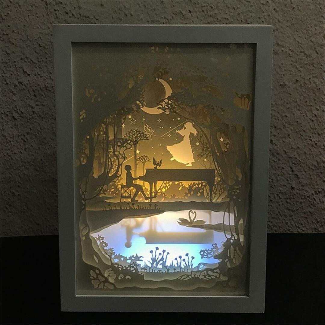MTX Ltd Nachtlicht Ulmenkopf Mode Kreative Geschenk Tischlampe Nachttischlampe LED Nachtlicht Dekoration Atmosphäre Bunte Bilderrahmen Lampe