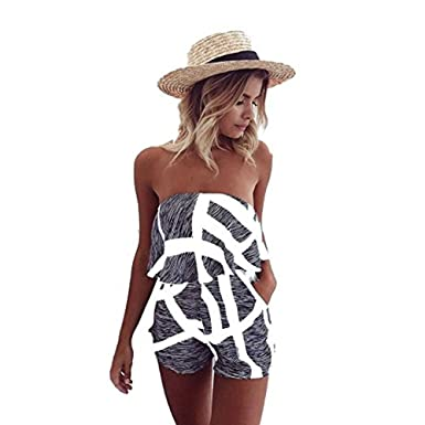 ea4e9d2b808 Tkria Women Sexy Off Shoulder Floral Printed Playsuit One Piece Summer  Strapless Romper Beach Short Jumpsuit  Amazon.co.uk  Clothing