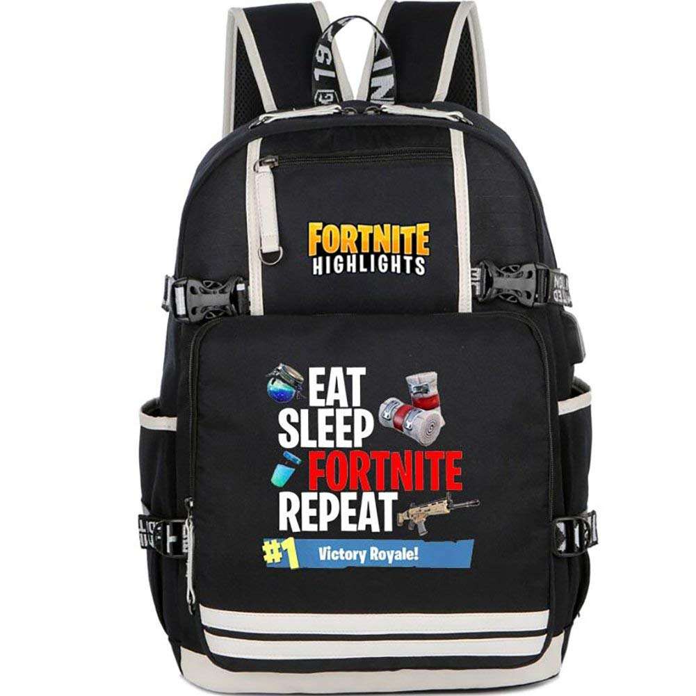 Fortnite Backpack Bookbag Schoolbag Boys and Girls for Students Handbags Travel Bag Daypack … (A) Knowooh