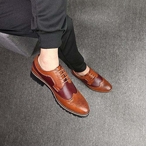 WZG Zapatos elegantes del vestido elegante formal del cordón de Derby que casan los zapatos del trabajo del negocio zapatos planos del cordón Red