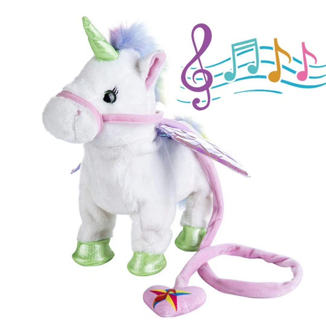 qiaoniuniu Electronic Pet Unicorn - White Small Pegasus - Stuffed Unicorn ,Singing Walking Musical Cute Plush Toys for Toddlers Girls Boys,Kids & Pets Birthday by qiaoniuniu