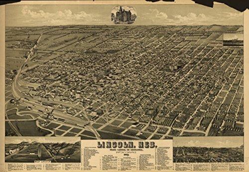(1889 Lincoln Nebraska, Bird's Eye Map Lincoln, Neb, State Capitol of Nebraska,- 16