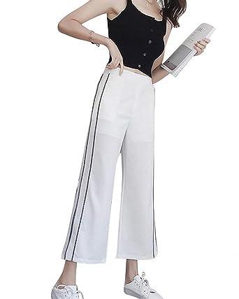 Femme Pantalon Large Décontracté Fashion Taille Haute Fourcher Pantalons  Palazzo Elégante Large Confortable Taille Élastique Basic ccc3ac10c793