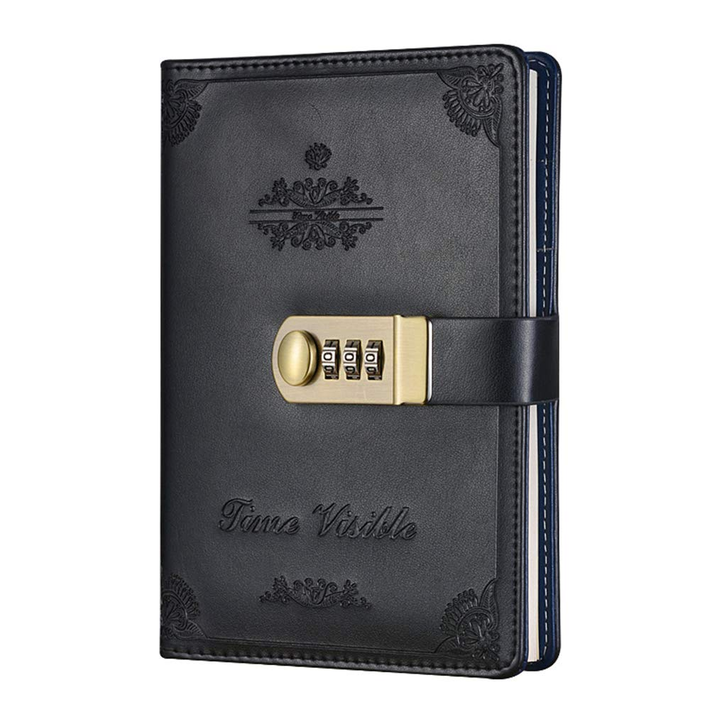 A5 Size Password Diary Black ToiM Retro PU Leather Business Journal Writing Notebook Fashion Daily Notepad with Combination Lock and Pen Holder