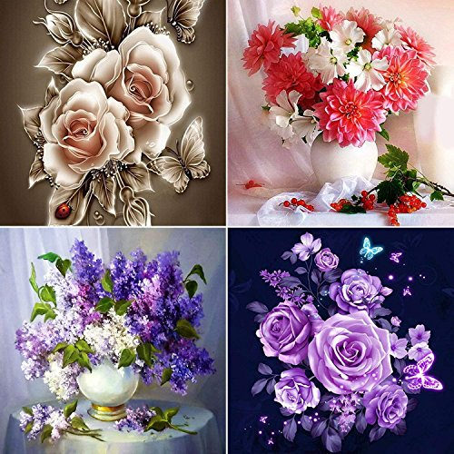 4 Pack 5D Full Drill DIY Diamond Painting Kit Flowers for sale  Delivered anywhere in Canada