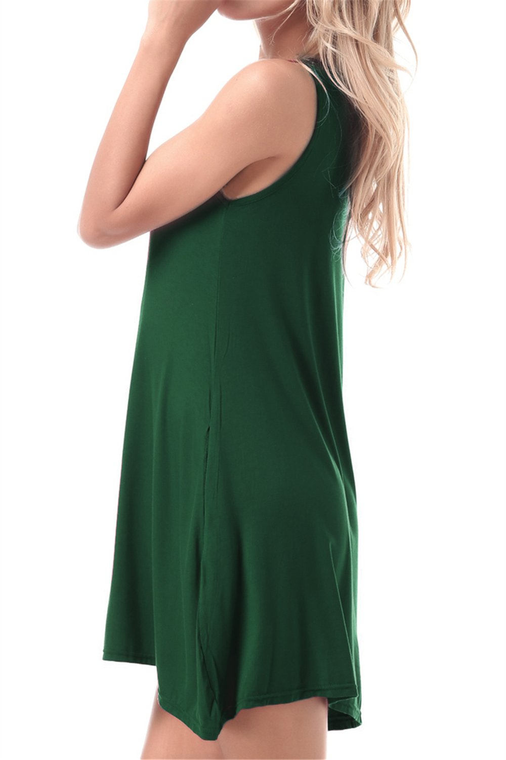 FISOUL Women Tops O-Neck Sleeveless Dress With Double Pockets Loose Bottoming Shirt Green M by FISOUL (Image #2)