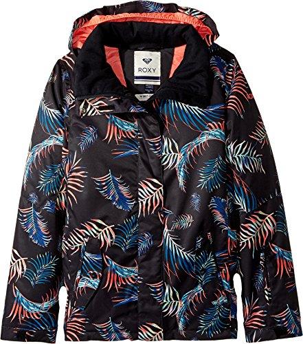 Roxy Big Girls' Jetty Snow Jacket, True Black_Neon Palms, 8/Small by Roxy