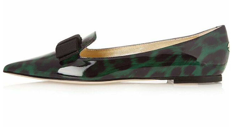 Eldof Women's Flats, Pointed Toe Flats Pumps, Patent Leather Flats Pumps, Walking Dress Office Classic Comfortable Flats B07DL28WQD 11.5 B(M) US|Green-leopard