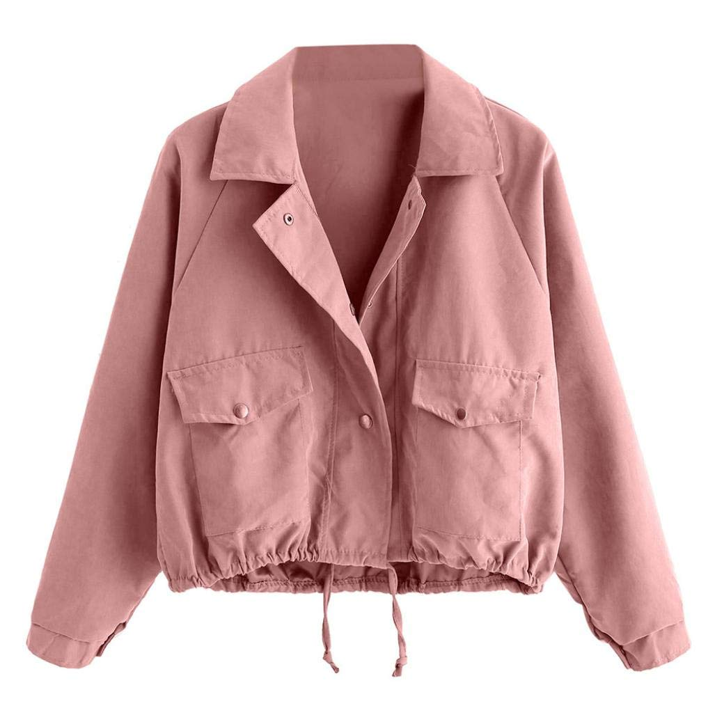 Liraly Womens Coats,Clearance Sale! 2018 New Women Autumn Fashion Short Pink Button Coat Pocket Jacket Cardigan(US-6 /CN-M,Pink)