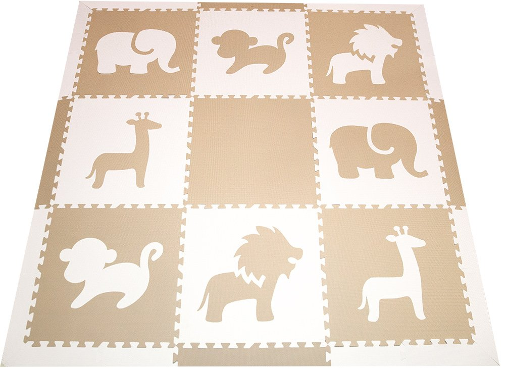 SoftTiles Foam Children's Playmat - Safari Animals Theme Designer Foam Tiles for Kids Playrooms and Baby Nursery 78'' x 78'' (Tan, White) SCSAFWT