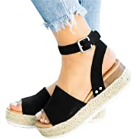 451259b0f Athlefit Women s Platform Sandals Espadrille Wedge Ankle Strap Studded Open  Toe Sandals