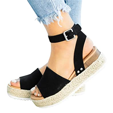 98596bbc073 Athlefit Women s Platform Sandals Espadrille Wedge Ankle Strap Studded Open  Toe Sandals Size 5.5 Black