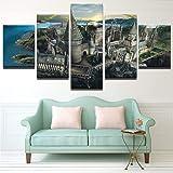 Ughjb Moderne Wandkunst Bilder Home Decor Poster 5 Stücke Hd Gedruckt Harry Potter Hogwarts Sonnenuntergang Leinwand Malerei Kein Rahmen
