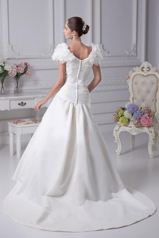 GEORGE BRIDE Formal Short Sleeves Satin Outdoor Wedding Dress