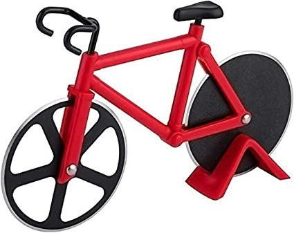Rueda de corte antiadherente de acero inoxidable para bicicleta, ideal para vacaciones, inauguración de casa, regalo de cocina, con soporte (rojo)