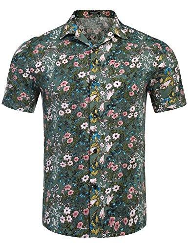 COOFANDY Men's Casual Button Down Short Sleeve Hawaiian Floral Shirt,Pattern (Hawaiian Floral Pattern Shirt)