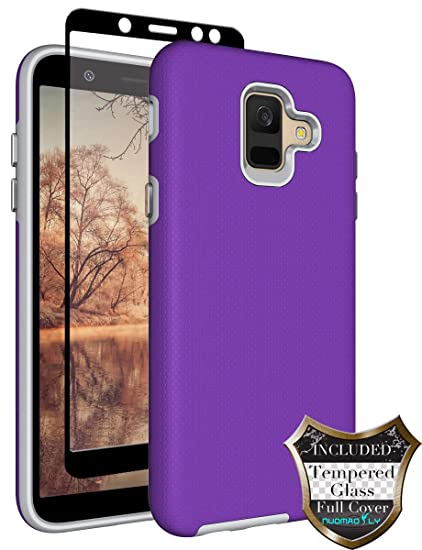 free shipping 854c6 cdb5a Galaxy A6 2018 Case [Tempered Glass Screen Protector] Nuomaofly Anti-Slip  Hard Textured Shell Back Cover Soft TPU Inner Protective Case Samsung  Galaxy ...
