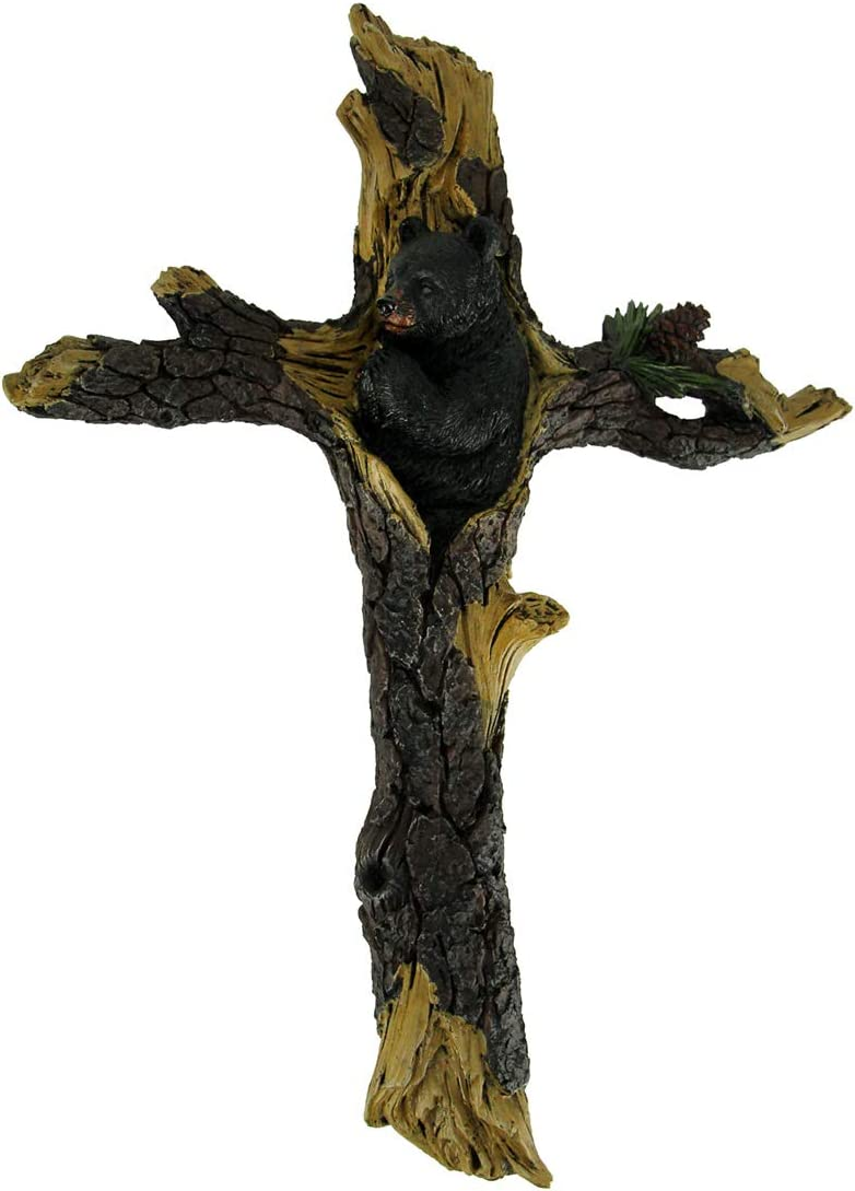 DeLeon Collections Black Bear Praying Wall Cross - Rustic Pine Tree Bark Wood Decorative Jesus Art
