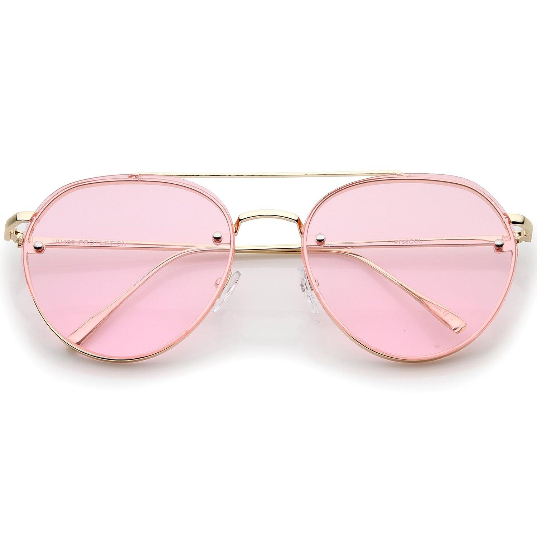 db3bb0581b48e Amazon.com  Modern Slim Temples Brow Bar Rimless Colored Flat Lens Aviator  Sunglasses 59mm (Gold Pink)  Clothing