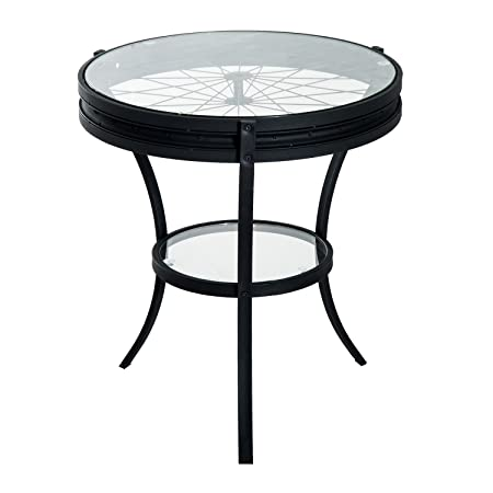 HOMCOM 22 Round Metal Glass Top Bicycle Wheel Accent End Table – Black