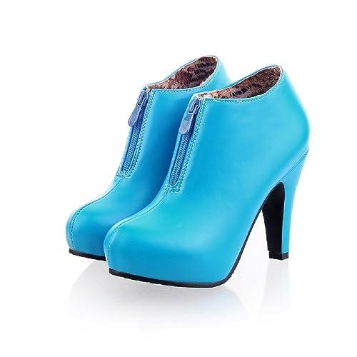 Botines de tacón Alto de Cuero para Mujer Botas de Vestir con Cremallera Lateral Botas de Piel de Invierno Forradas: Amazon.es: Zapatos y complementos
