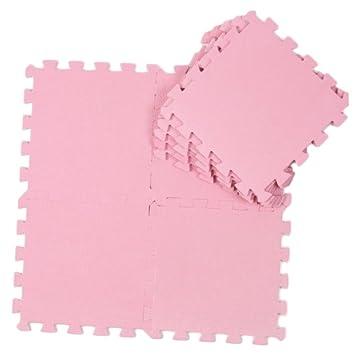 Alfombra puzzle de goma EVA para niños. 9 piezas. 90 x 90 x 1 cm. Rosa: Amazon.es: Juguetes y juegos