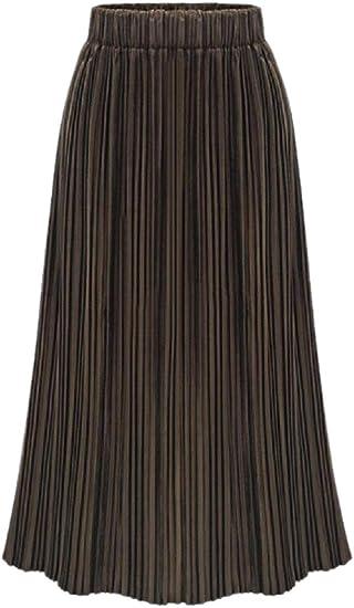 Fly Year-JP 女性のプリーツプレミアムメタリックカラールーズフィットアコーディオンシャイニーロングマキシスカート