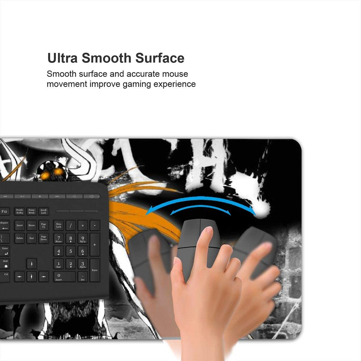 Bleach Anime Gaming Mouse Pad Extended Mouse Mat with Special-Textured Surface-Non-Slip Rubber Base-Water-Resistant and Durable Stitched Edges for Gaming Mouse and Keyboard 15.8x35.5 in