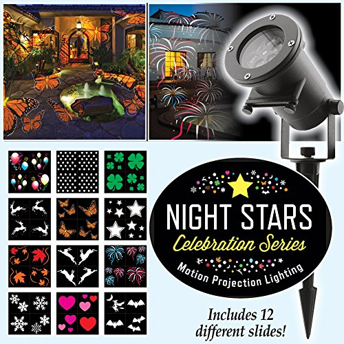 Night Stars LL01-HC Holiday Projector Light, 12 Patterns Waterproof Moving Rotating Projector Indoor and Outdoor Use. Led Projector Light Show for Halloween, Party, Holiday Decoration
