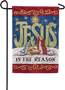 Custom Decor Jesus is the Reason - Garden Size, Decorative Double Sided, Trademarked, Licensed and Copyrighted Flag - Printed in the USA by Inc. - 12 Inch X 18 Inch approx. size