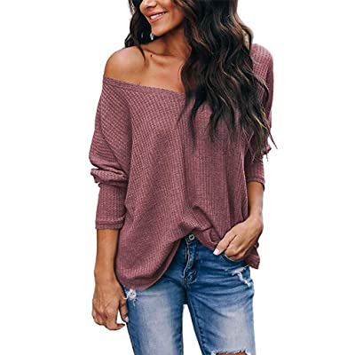 LuckyMore Women's Casual V-Neck Off Shoulder Batwing Sleeve Pullover Waffle Knit Blouse Loose Top Shirt at Women鈥檚 Clothing store