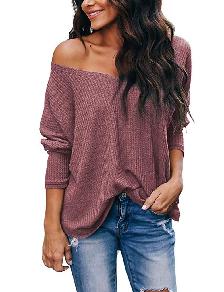 Women\'s Waffle Knit Long Sleeve Pullover Shirts Loose Off The Shoulder Tunic Tops Rust Red M